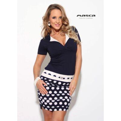 dc7767dd5b Masca Fashion kihajtós galléros sötétkék-fehér pöttyös, húzott szoknyarészű  rövid ujjú miniruha, ékszerkapcsos