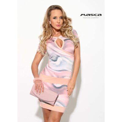f092148459 Masca Fashion kivágott dekoltázsú, átlapolt mellrészű pasztell foltmintás  szűk rövid ujjú miniruha