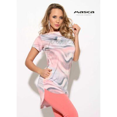 45bd6651e6 Masca Fashion csónaknyakú, rövid ujjú pasztell foltmintás zsebes tunika,  ezüst strasszköves márkafelirattal - Mf906
