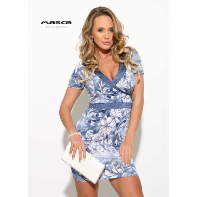 Masca Fashion átlapolt mellrészű virágmintás farmerkék rövid ujjú szűk  miniruha 3494f03e9d