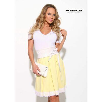 3ab02d04dd Masca Fashion loknis csipkeszegélyes szoknyarészű, rövid muszlin ujjú sárga- fehér alkalmi ruha, megkötős