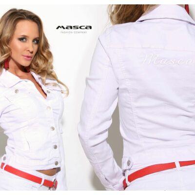 Masca Fashion fehér csipkeszegély díszítésű rugalmas fehér farmerdzseki b13a7abb38