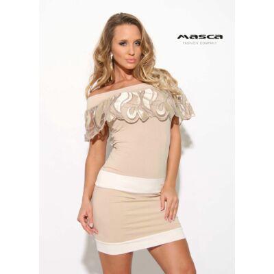6e68afb6962 Masca Fashion hímzett tüll fodorszegélyes vállra húzós nyakkivágású drapp  miniruha Mf911-19