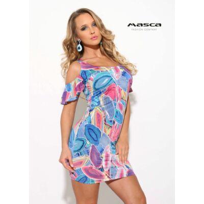 0d98bd88e6d7 Masca Fashion nyitott vállú, fodros rövid lepke ujjú, színes ásványmintás  szűk miniruha