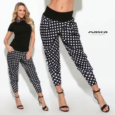 1c02a1a5cf Masca Fashion átlapolt szabású lezser zsebes fekete-fehér pöttyös nadrág,  széles passzékkal