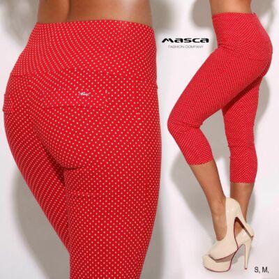 fd2c48dd31 Masca Fashion magasított derekú szövött elasztikus fehér pöttyös piros  háromnegyedes leggings, cicanadrág
