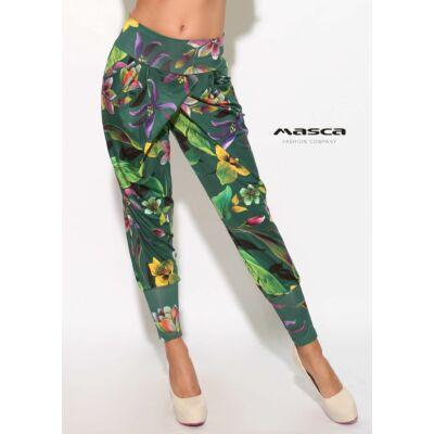 de4032bb1f Masca Fashion átlapolt szabású lezser zsebes élénk virágmintás sötétzöld  nadrág, széles passzékkal