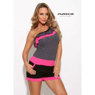 2285486083 Masca Fashion aszimmetrikus szabású fekete-fehér pöttyös, fodorszegélyes  pink betétes rövid nadrágos zsebes overál