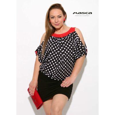 a27d27d7c4 Masca Fashion piros betétes, fehér pöttyös fekete nyitott vállú, rövid ujjú  lezser tunika,