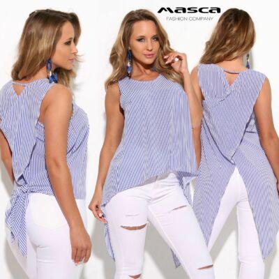 adb5a842be Masca Fashion ujjatlan kék-fehér csíkos lezser vászon felső, hátán átlapolt  hosszabb szabással