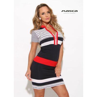 5f793f9cec Masca Fashion állónyakú, cipzáras dekoltázsú, piros betétes kék-fehér  csíkmintás rövid ujjú szűk