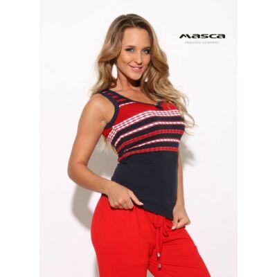 91d4584c5a Masca Fashion trikópántos, piros-fehér lurexes csíkos sötétkék felső, top