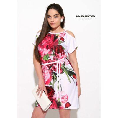 192f5a081d Masca Fashion rövid ujjú nyitott vállú, piros virágmintás fehér lezser  tunika, miniruha, fonott