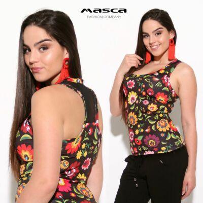 bc323f26a7 Masca Fashion muszlin betétes trikópántos, élénk virágmintás fekete top