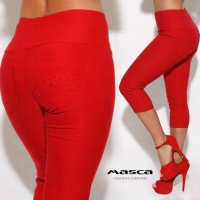 0dcb574c3c Masca Fashion magasított derekú háromnegyedes piros elasztikus bengalin  leggings, cicanadrág, hímzett zsebbel