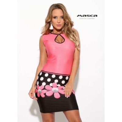 53aa53a8d4 Masca Fashion csepp kivágott dekoltázsú pink-fekete szűk miniruha, alján  pöttyökkel, virágmotívummal