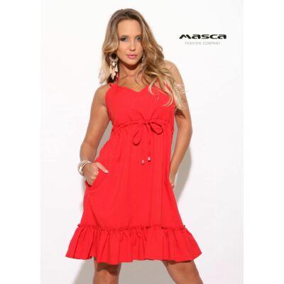 bd02db495a Masca Fashion dupla spagettipántos nyakba kötős fodros aljú A-vonalú piros  lenge zsebes ruha