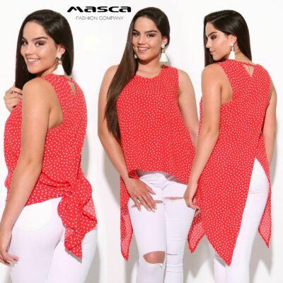 f0da9edd0d Masca Fashion ujjatlan piros-fehér pöttyös lezser felső, hátán átlapolt  hosszabb szabással, vékony