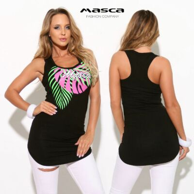 ee25918a16 Masca Fashion trikópántos ujjatlan, íves aljú fekete felső, nyomott  pink-zöld levélmintával