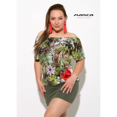 efb17e845f Masca Fashion gumis vállra húzós, zebrás dzsungelmintás laza rövid ujjú  tunika, miniruha, szűkebb