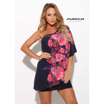 bab75e40d2 Masca Fashion kétrétegű aszimmetrikus sötétkék miniruha, bő rózsamintás  lenge felső réteggel