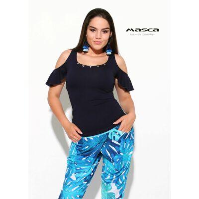 90fe5620208f Masca Fashion nyitott vállú fodros rövid ujjú sötétkék top, felső,  szegecses díszítéssel