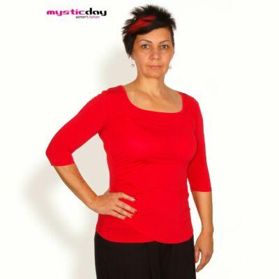 2cec024ca5 Mystic Day háromnegyedes ujjú, oldalán csípésekkel ráncolt piros póló