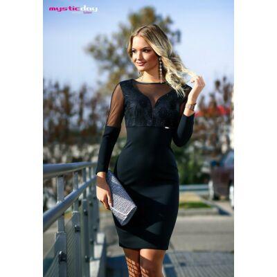 da40d683b5 Mystic Day rugalmas muszlin betétes ujjú, csillámos mintás mellrészű fekete  alkalmi ruha