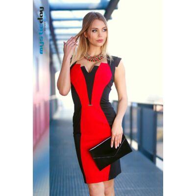 Mystic Day karcsúsító hatású piros betétes fekete rövid ujjú alkalmi ruha