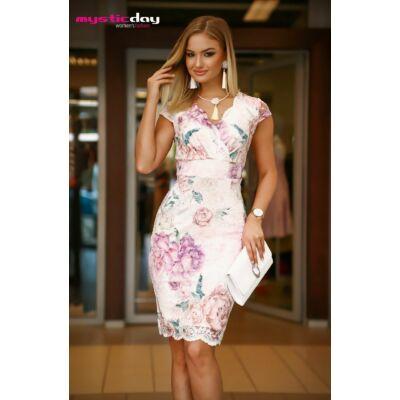 6af7001803 Mystic Day átlapolt mellrészű, alábélelt, lilás tónusú virágmintás rugalmas  csipke alkalmi Tixi ruha