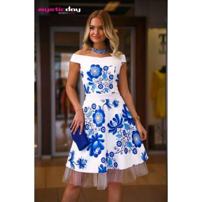 3154bd484e Mystic Day vállra szabott loknis kék virágmintás fehér Médi ruha, kivehető,  gumis derekú tüll