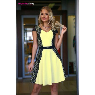 72505b3225 Mystic Day fekete csipke rátétes sárga elejű, rövid ujjú loknis alkalmi ruha