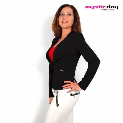e3fa678402 Mystic Day fekete egy gombos karcsúsított Mariann blézer, elején textilbőr  betétekkel - Md7-276