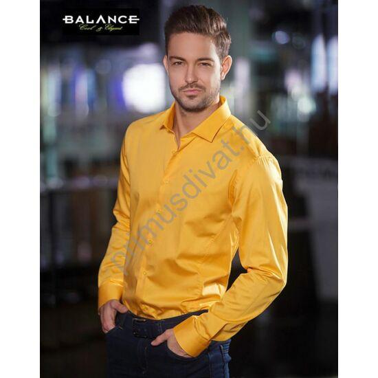 Balance normál galléros, egyszínű nap-sárga, slim fit, pamutszatén hosszú ujjú ing