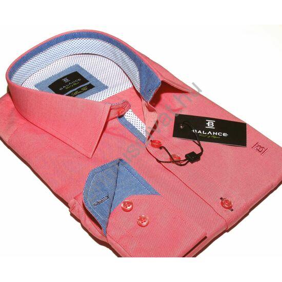 Balance hosszú ujjú, karcsúsított lazac-piros ing, apró kockás-pöttyös kék-fehér betéttel