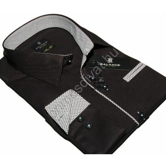 Balance karcsúsított hosszú ujjú fekete ing, apró pöttyös kontrasztos betétekkel, mellén álzsebbel