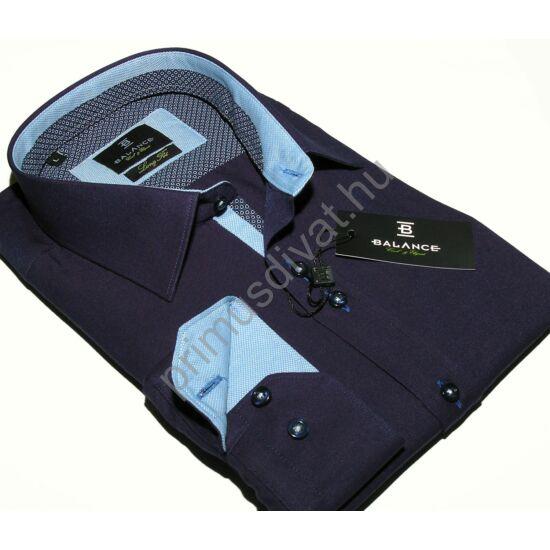 Balance hosszított fazonú karcsúsított, sötétkék hosszú ujjú ing, apró mintás kék-fehér betétekkel