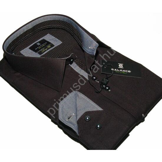 Balance hosszított fazonú karcsúsított, fekete hosszú ujjú ing, apró mintás fekete-fehér betétekkel