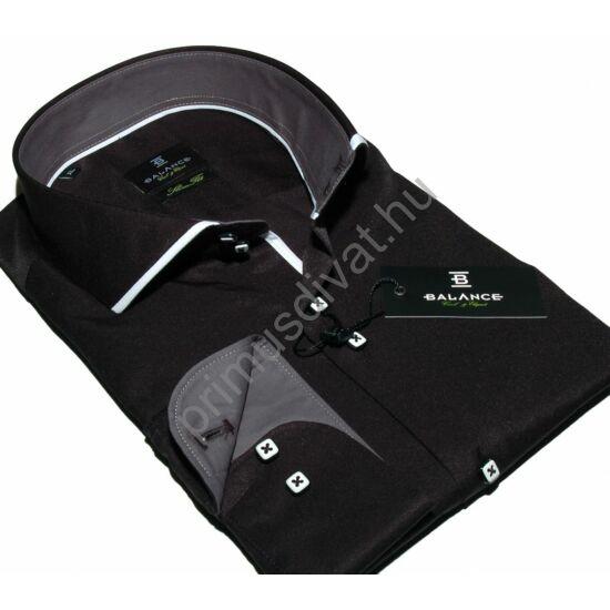 Balance fehér paszpólos cápanyakú fekete, karcsúsított hosszú ujjú pamutszatén ing