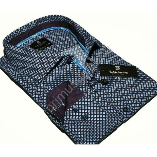 Balance cápanyakú hosszított fazonú rugalmas, karcsúsított hosszú ujjú ing, apró mintás sötétkék