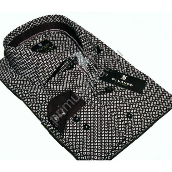 Balance cápanyakú hosszított fazonú rugalmas, karcsúsított hosszú ujjú ing, apró mintás fekete
