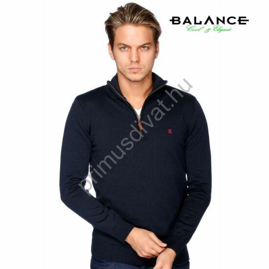 Balance cipzáras nyakú vékony kötött pamut pulóver, sötétkék