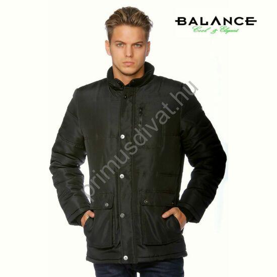 Balance elegáns szabásvonalú vízlepergetős fekete téli dzseki, vatelin béleléssel