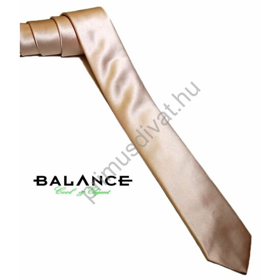 Balance keskeny selyem szatén nyakkendő, világos arany színben