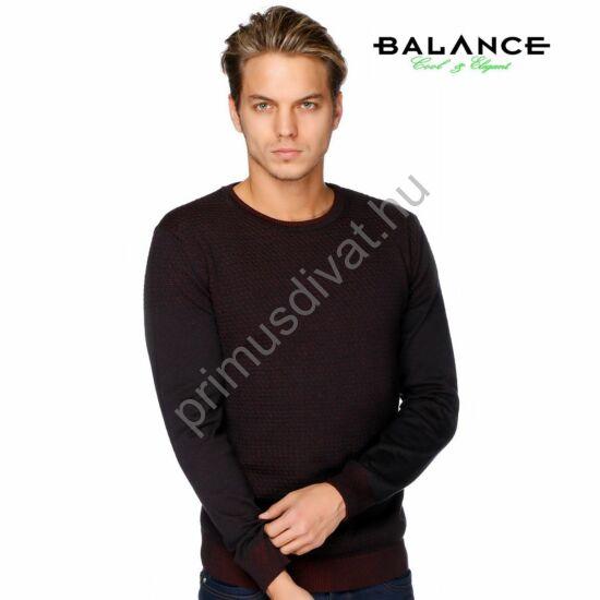 Balance környakas, kétfalas, domború mintás vékony kötött pamut pulóver, kék-bordó