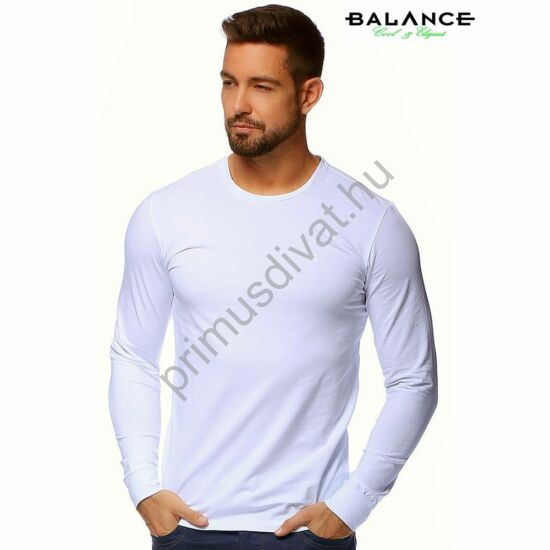 Balance környakas, rugalmas hosszú ujjú póló, fehér