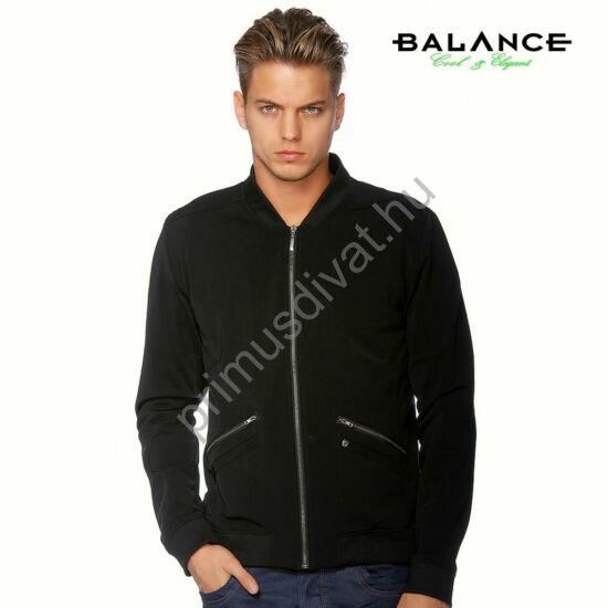 Balance vékonyan bélelt, rugalmas anyagú cipzáras pulóver, kardigán, fekete