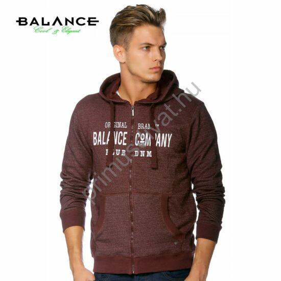 Balance cipzáras, kapucnis, bordó melange pulóver, kardigán, elején nyomott márkafelirattal