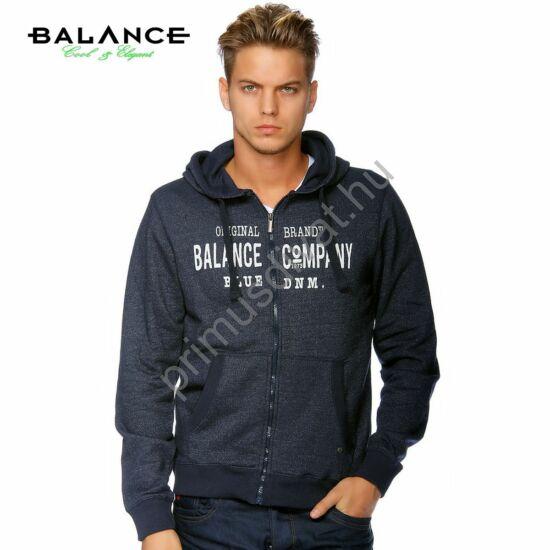 Balance cipzáras, kapucnis, sötétkék melange pulóver, kardigán, elején nyomott márkafelirattal