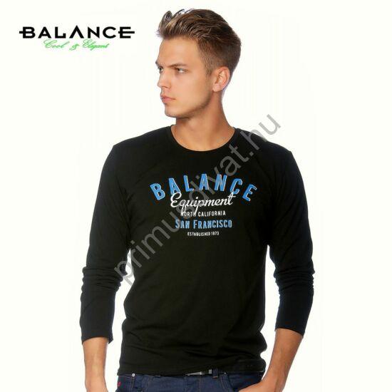 Balance környakas, rugalmas hosszú ujjú póló, elején töredezett hatású nyomattal, fekete